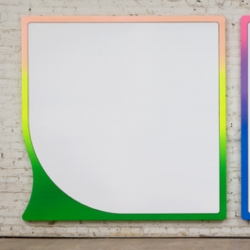 Greg Bogin's pop-minimalist shaped paintings are  simultaneously full and empty . Informed by signage that penetrates our subconscious they say a lot about our time.