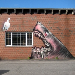 A tribute to street artist shark Toof in time for Shark Week - nature will always win!