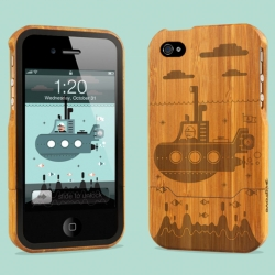 Grove collaboration with British artist Ryan Chapman on 'Submarine' a laser engraved bamboo iPhone4 case.