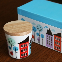 Isak Porcelain Lidded Cups Sets ~ houses, birds, and leaves ~ these pairs of porcelain cups (or multipurpose containers) come with wooden lids (or coasters!) in a beautiful gift box