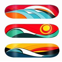 Skateboard designs - Design and waves, to reflect the perfect waves around the world with a lot of movement, color and contrast