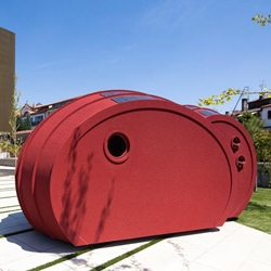 Portuguese architect Gabriela Gomes has designed a cloud-like two-person habitat that is sustainable as well as transportable, and rents out for 100 euros per night, inviting people to sleep in a sculpture in public spaces.