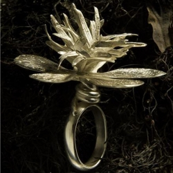 nature inspired silver pieces, this one burst 4cm off  your hand... by evade carlo