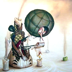 IMSCAR3d : Gallery 1988 (LA) show by Greg Simkins. His work is the pop surrealist look at classic cartoons characters. (Not an original idea though, remember Dali and Disney...)