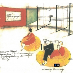 Sketches from Arne Jacobsen and Flemming Lassen showing how they imagined the inside of House of The Future from 1929. Sketches were made in 1932.