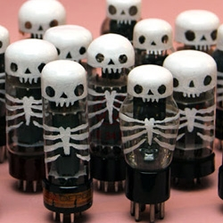 Skull-A-Day's Noah Scalin created these Skeletubes - hand-painted vacuum tubes - for the Bizarre Market Holiday in Richmond, VA.