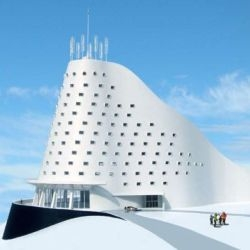 The North Slope Ski Hotel is designed and architect by Michael Jantzen, that will run on renewable sources of energy.