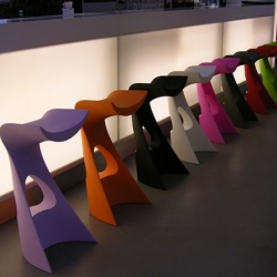 Slide will be presenting 3 new designs by Karim Rashid at the Salone del Mobile including the rotational molded Koncord stool.