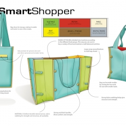 The Smart Shopper is divided into compartments based on food groups, so you know if you're missing something in your diet.  Its an ideal product for urban professionals, who walk to and from the markets.