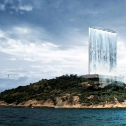 Let the games begin! A solar energy generating waterfall tower for 2016 Rio Olympic Games. The Solar City Tower is designed by Zurich-based RAFAA Architecture & Design.