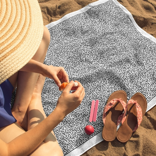 Solehab Maze Beach Towel. Single sided print, 30 x 60 inches, printed on 100% super-soft polyester microfiber. Manufactured and printed in the USA.