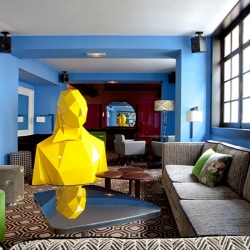 "Xavier Veilhan presents ""Sophie"" a sculpture installation at Cafe Germain in Paris"