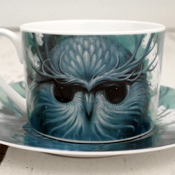 Beautiful new Limited Edition Cup and Saucer set from much loved American artist Jeff Soto. The 'Snow Owl'.