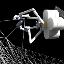 NASA is developing an orbiting factory that will use 3D printing and robots to fabricate giant structures such as antennas and solar arrays of up to a kilometre in length.