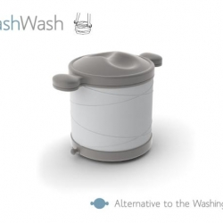 Squash Wash from Kristin Mueller is an alternative to the washing machine that allows the user to wash clothes with little water and no electricity.