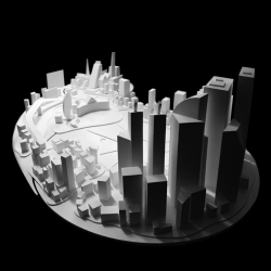 Lumen Urbs projects pictograms and imagery onto a blank miniature city to bring life to four areas of urban activity. By Johannes Becker and Philipp Nottelmann.