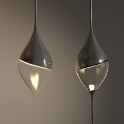 Stalasso Pendant Lamp by Joeri Claeys - Inspired by a dripping stalactite, it can be a single hanging 'drop' or a string with various light elements combined with a corresponding formation on the floor of the room.