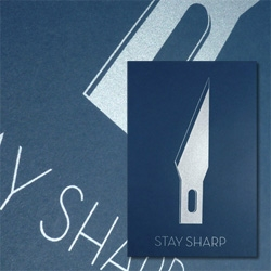 STAY SHARP poster by Jamie Reed at Human Shaped Robot