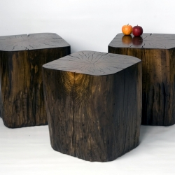 David Stine has created a new collection of eco friendly little tables gleaned from his 500 acre forest in Illinois.