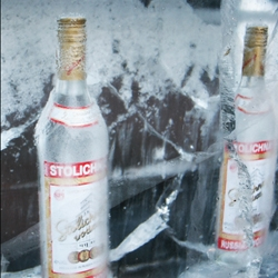 Ice sculptures to promote Stolichnaya Russian Vodka around Belfast, Northern Ireland.