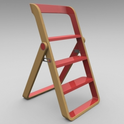 Stepladder and stool by object creative with design focusing on living outside of the closet. Bold and contrasting materials: maple and lacquer.
