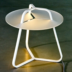 Hybrid  table / lamp by Studio 4P1B for Martinelliluce with a satin methacrylate surface plane of 50 cm diameter. LED's embedded in the structure.