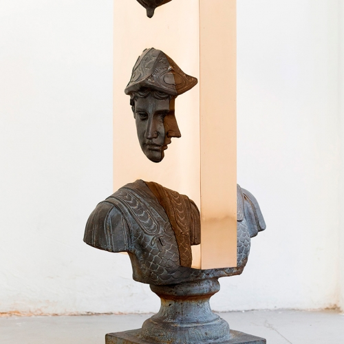 """Boolean"" And (bust), 2017 - Nucleo Piergiorgio Robino + Edoardo U. Trave. Welded, polished, bronze plates on vintage sculpture - 40 x 53 x 100h cm"
