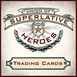 Imagining a parallel universe in which superheroes inhabit a Victorian Steampunk world, the Union of Superlative Heroes is a 20 card trading set from Chet Phillips.