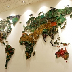 World Map Made of Recycled Computer Components by Susan Stockwell.