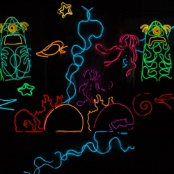 Light up puppets from L.A. puppet company Swazzle. Created for their new show Water Color, covered with hundreds of feet of hand stitched Electroluminescent Wire. See before and after pics on the puppet101 blog at  swazzle.com!