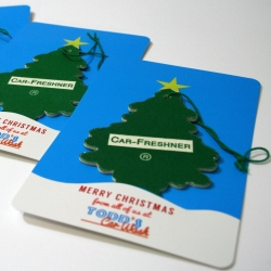 A clever Christmas card for a car wash - using a tree air freshener!