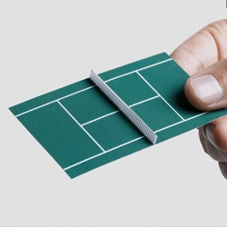 Tennis Court Business Card. The card was handed folded in half and, when opened, became a tennis court.