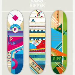 A new skateboards series, a collaboration between the artist ELNA and Ripper Skateboards company, inspired by the the space, nature and weather, original vector art by the artist.