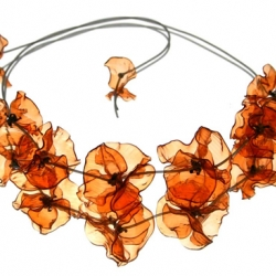 Beautiful jewelry made from used PET bottles made by designer Gulnur Zdaglar Guvenc.