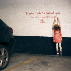 'Protect what's behind you' for Toyota. Together with Happiness Brussels, street artist Ernest Zacharevic invaded a parking lot in Brussels (Q-Park Lepage) and confronted drivers with the dangers of maneuvering in reverse.