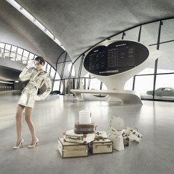 """The Happy Finish CGI team have gone back in time to recreate Saarinen's 1960s iconic Flight Center (Terminal 5 of JFK airport New York, featured in the movie """"Catch me of you can"""") entirely in CGI so it can be accessed & used as a shoot location. Pretty nifty!"""