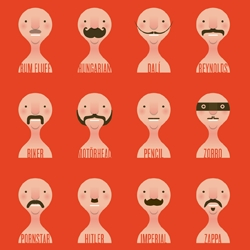 Beard Art: prints, paintings, prosthetics, T-shirts, bearded fruit and a stellar moustache chart for your desktop.