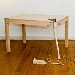 Belgian designer Lennart Van Uffelen designs according to the philosophy of 'Functionality Kills The Fun'. On a not so well functioning site he features broken mirrors, tables and other destroyed  furniture.