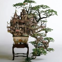 Takanori Aiba's miniature worlds, set in real bonsai trees.