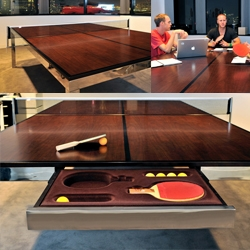 Table&Tennis. Work, live and play have morphed together, so furniture should follow the lead. Conference / dining table built to the specs of a ping-pong table.