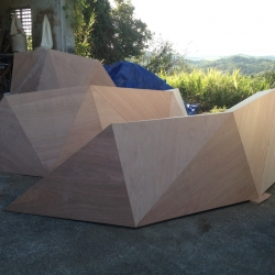 Technological Rainforest Furniture designed by Muuaaa, using parametric design and assembly to create tessellated wooden furniture by local carpenters.