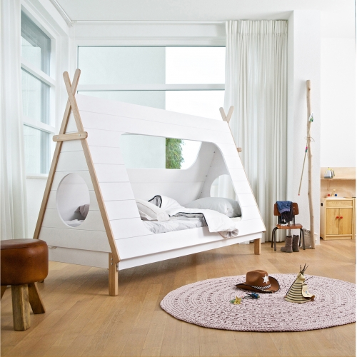 Children's Teepee Cabin Bed by Dutch designer Woood. A fun and functional bed to encourage development through play.