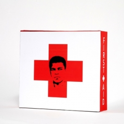 Graphic designer Maria Papadonikolakis of Brooklyn, NY, has designed this first-aid kit with the likeness of former World Heavyweight Champion Muhammad Ali.