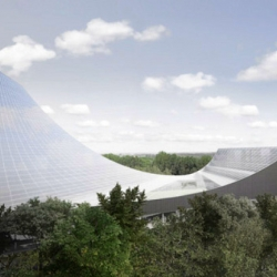 This vision for the New Bouwkunde architecture school resembles a swooping solar skateboard ramp.