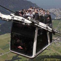 The Cabrio is the world's first open air double-decker cable car from Switzerland