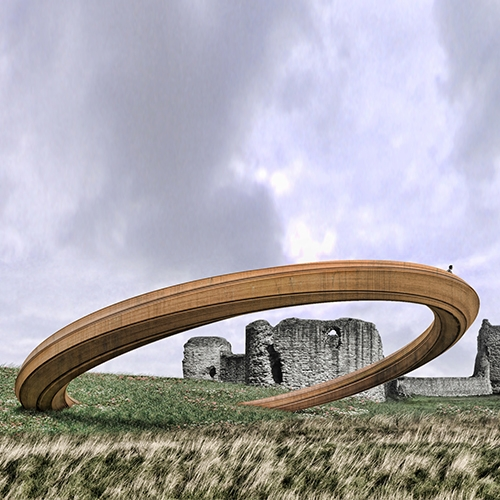 Iron Ring will be installed at Flint Castle in spring 2018. The sculpture's precariously balanced form depicts an unstable crown. Its location marks where the crown was transferred from one medieval dynasty to another, as told in Shakespeare's Richard II.