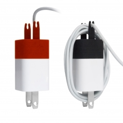 The Wrap mirrors the prongs on the iPhone charger - making it easy to store the charging cable.