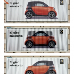 The new smart fortwo is the car with the smallest turning radius in the world. To communicate this benefit we used the Trivision outdoor media format to turn our car around as quickly as the new smart fortwo does