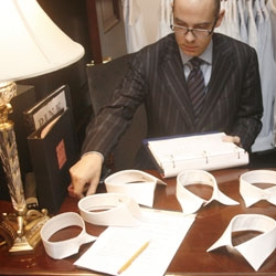 A photo essay depicting the custom shirting process at Thomas Pink's Madison Avenue store.