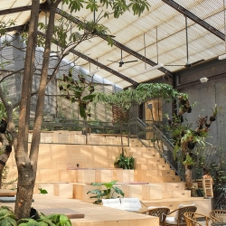 Three Buns Restaurant sets up shop in massive greenhouse with amphitheater style seating.